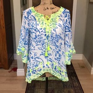 Sundance High/Low Blue/Green Top in Medium